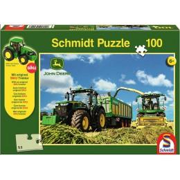 "Puzzle + SIKU Traktor ""Traktor 7310R und Feldhäcksler"""