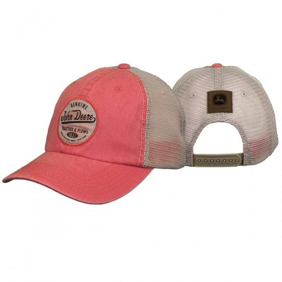 Pinke JohnDeere Kappe mit elfenbeinfarbenem Netzrücken